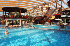 Pool and old ship in aquapark. Royalty Free Stock Images