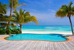 Pool op een tropisch strand Royalty-vrije Stock Afbeeldingen