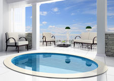 Pool before an open terrace. In the private house Royalty Free Stock Photos