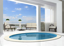 Pool before an open terrace. In the private house Royalty Free Stock Images