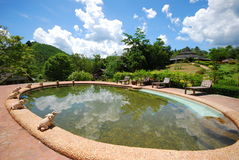 Pool and outdoor design in resort Stock Photos