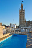 Pool overlooking la Giralda Royalty Free Stock Photos