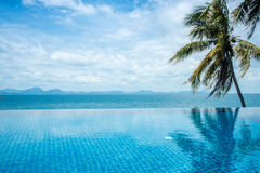 Pool overlooking the sea and coconut trees.samui Island in thailand. royalty free stock images