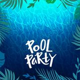 Pool Party Background with Water Ripple Texture, Tropical Leaves Frame and Hand Writing Text. Vector Illustration