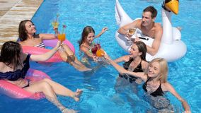 Pool party company of youth on inflatable rings with alcoholic drinks are resting in Poolside on summer vacations