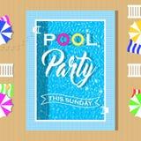 Pool-Party-Einladungsdesign Schablone für Flieger und Plakat Lizenzfreie Stockfotografie