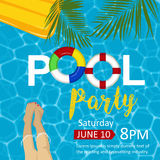 Pool party flyer. Female legs, inflatable mattress, rings, palm leaves. Top view. Stock Images