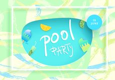 Pool Party flyer. Vector illustration. Royalty Free Stock Photos