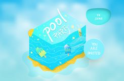Pool Party flyer. Vector illustration. Stock Photos