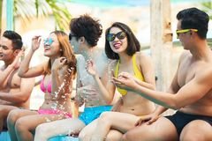 Pool party. Group of friends having fun at pool party Royalty Free Stock Photo