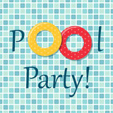 Pool party invitation as two rubber rings on pool tiles background Stock Image
