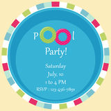 Pool party invitation as two rubber rings in a pool Stock Photography