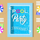 Pool party invitation design. Template for flyer and poster. Royalty Free Stock Photography