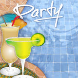 Pool party. Invitation margarita colada vector illustration
