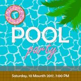 Pool party invitation or poster, banner. Template for invite card with palm tree leaves and swim ring in donut form. Vector. Pool party invitation or poster Royalty Free Stock Photos