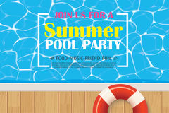Pool party invitation poster with blue water. Vector summer back Stock Images
