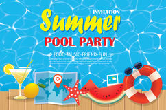 Pool party invitation poster with blue water and wooden. Vector Stock Photos