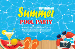 Pool party invitation poster with blue water and wooden. Vector Stock Image