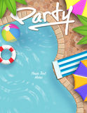 Pool Party Invitation. Pool Summer Party Invitation Vector Royalty Free Stock Photos