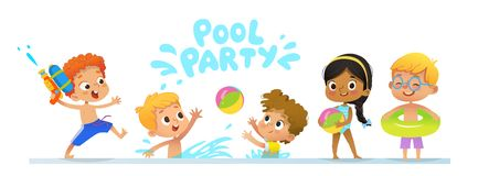 Pool party Invitation template baner. Multiracial Children have fun in pool. Redhead boy with a toy water gun jumping in. A pool. Children playing with a ball royalty free illustration