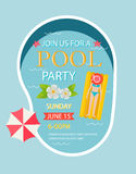 Pool party invitation  with top view of pool Stock Photos
