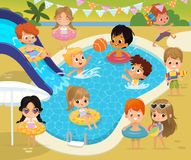 Pool party Kids. Ð¡hildren have fun in a pool. Little Girl in inflatable circle. Funny Summer Vacation. Boy with a toy royalty free stock photos