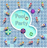 Pool party letters  illustration. Abstract,art,backdrop,background,blue,concept,design,electric,electricity,element,energy,equipment,flat,graphic,icon Royalty Free Stock Photos
