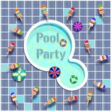 Pool party letters  illustration. Abstract,art,backdrop,background,blue,concept,design,electric,electricity,element,energy,equipment,flat,graphic,icon Stock Photo