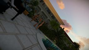 Pool party with piano player at sunset, camera rotation royalty free illustration