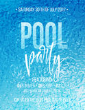 Pool party poster with blue water ripple and handwriting text. Vector illustration Royalty Free Stock Image