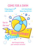 Pool party poster with inflatable ball and splash in swim pool water. Royalty Free Stock Photo