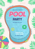 Pool party poster. Summer event, festival vector colorful Illustration, placard. Stock Photo