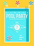 Pool party poster. Summer party invitation, flyer concept Stock Photography