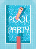 Pool party poster template with sexy woman in bikini sunbathing. 80s retro vintage style vector illustration. Stock Photography