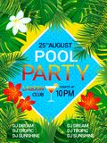 Pool party poster Tropical background with text. Summer design. Tropic flowers, exotic leaves, swimming pool, cocktail vector illustration