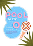 Pool party poster. Vector illustration. Pool party invitation with water, pink float, beach umbrella, palm, sexy femele legs. Summer poster Royalty Free Stock Photo