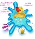 Pool Party Poster With Big Yellow Rubber Duck In A Sweaming Pool. Royalty Free Stock Photo