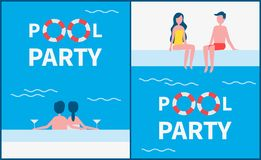 Pool Party Posters Text Set Vector Illustration. Pool party posters with text set. Romantic couples with alcohol drinking by basin enjoying time spent together vector illustration