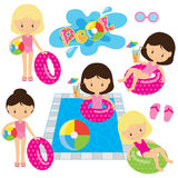 Pool party vector illustration. Girls in pool vector illustration Stock Photos