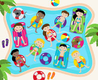 Pool Party Vector Set, Including Pool Background and Children Stock Photo