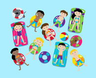 Pool Party Vector Set, Including Pool Background and Children Stock Photography