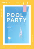 Pool party vertical poster. Open-air summer event placard. Colorful vector illustration. Royalty Free Stock Image