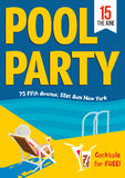 Pool Party. Woman relaxed with a cocktail by the pool. Template  poster design. Stock Photos