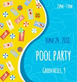 Pool patry banner or poster with bright design, graphic illustration Royalty Free Stock Images