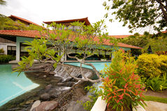 Pool with pavilion and tropical plants(Bali, Indonesia) Stock Photos
