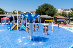 Pool with people in a water park in Barcelona Spain Royalty Free Stock Photos