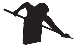 Pool Player. A silhouette of a woman playing pool Stock Photo