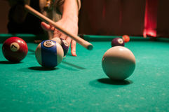 Pool player strike Stock Photography