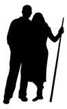 Pool Players. A silhouette of two pool players holding a cue Royalty Free Stock Photos