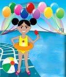 Pool Popsicle Girl Stock Photography